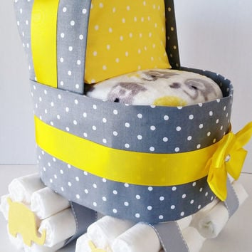 Elephant Diaper Cake Stroller, Yellow and Grey Elephant Baby Shower Table Centerpiece, Gender Neutral Baby Shower Decor, Diaper Stroller