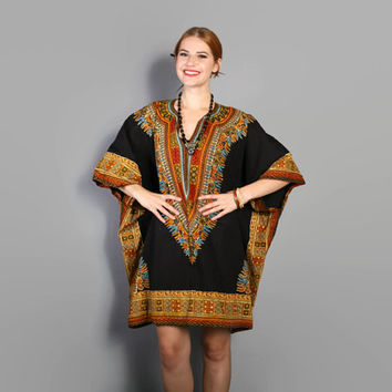 70s DASHIKI Print CAFTAN DRESS / Ethnic Batik Draped Mini, osfm