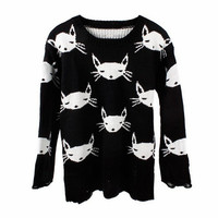Black Hollow Knit Cat Face Pullover Sweater for Women