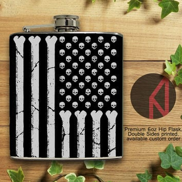American Skulls and Bones 6oz Hip Flask