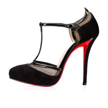 LA AICHINGER VEAU VELOURS, Black, Veau velours, Women Shoes, Louboutin.