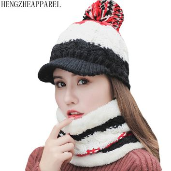 2018 winter new knit wool ball plush thick hats+scarf set women fashion caps collars girls riding walk wear beanies accessories