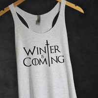 Winter is Coming Game of Thrones Tank Top in Heather White-Shirt-GOT Tee T-shirt Tshirt-House Stark Shirt-TV show series Shirt-Cup of tee