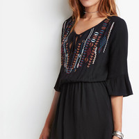Embroidered Bell-Sleeve Peasant Dress