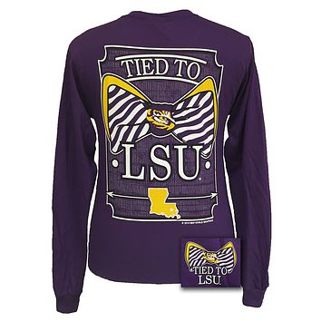SALE Louisiana State LSU Tigers Tied To Big Prep Bow Long Sleeve T Shirt