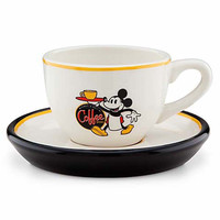 disney parks mickey mouse cup and saucer espresso set ceramic new