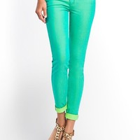 Power Skinny Pop-Color Jeans in Dandy Green | GUESS.com
