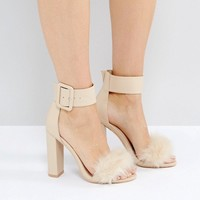 Public Desire Power Nude Faux Fur Block Heeled Sandals at asos.com