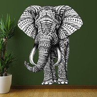 My Wonderful Walls Animal Art Ornate Elephant Wall Sticker Decal by BioWorkZ, Medium, Black/White/Green
