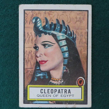 Cleopatra Look 'n See Trading Card, Vintage 1950s TOPPS No. 44, Famous Women Collectible Card