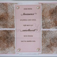 Handmade Anniversary Card - Pink Vellum and Marbleized Background with Pink & Brown Pearls | foreversmemories - Cards on ArtFire