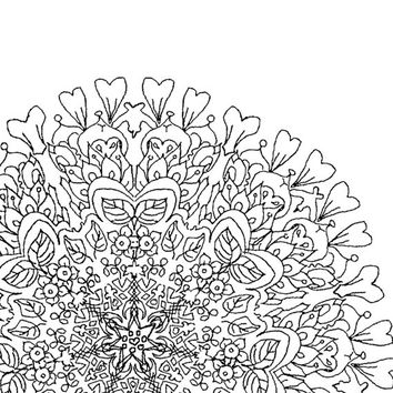 Digital Download Colouring Page, Adult Coloring, flower ,line drawing,Mandala,Adult Colouring Page,Printable Digital Illustration,Line Art