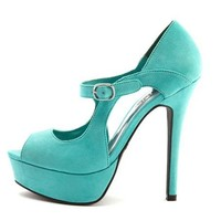 Sueded Cutout Mary Jane Pump: Charlotte Russe