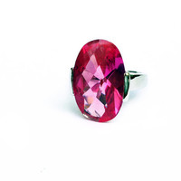 Pink Cubic Zirconia Large Cocktail Ring in Sterling Silver // hot pink jewelry, pink cz ring in silver, size 5, 6, 7, 8