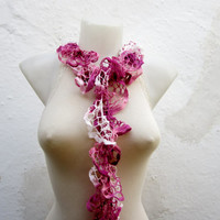 Handmade Crochet Pink White Scarf Fall Fashion Frilly scarf Ruffled Scarf Winter Accessories