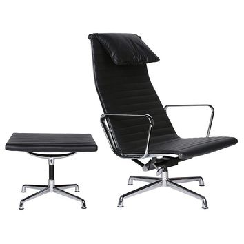 EA124 Aluminium Group High Back Chair & EA125 Ottoman - Reproduction