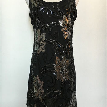 Vintage O-neck sleeveless sexy shining 1920's Flapper Party Clubwear Gatsby Sequin Embroidery Flower Mini Dress