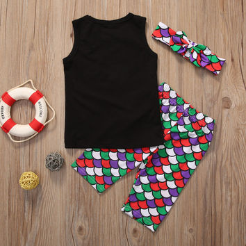 Girl Mermaid Hair Don't Care Clothing Set