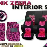 New and Exclusive Mesh Animal Print Interior Set Pink Zebra 15pc Seat Covers Front & Back Lowback, Back Bench, Steering Wheel & Seat Belt Covers - Floor Mats - Padded Comfort