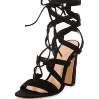 Gianvito Rossi Suede Lace-Up Caged Sandal, Black