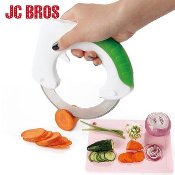 JC BROS Stainless Steel Round Knife Vegetable Chooper Kitchen Cutter Slicer Anit-slip Handle Fruit Vegetable Pizza Ring Knife
