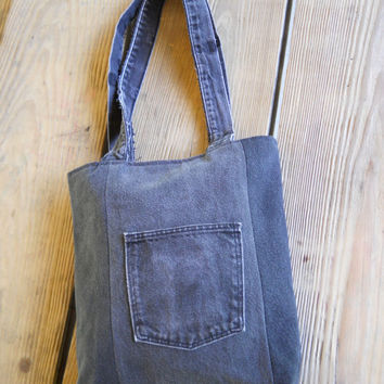 Recycled Denim Tote Bag / Purse /  Denim Patchwork / Shades of Gray Black