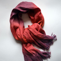 Dip-Dye Linen Scarf - Pure Red Viplet Linen Shawl - Long Linen Scarf - Fashion Scarf - Fashion Accessories - Infinity Scarf