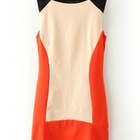 ROMWE Color Block Sleeveless Backless Dress