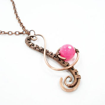 Music necklace, musick pendant, unique necklace, uniquein jewelry, handmade necklace, wire wrapped necklace, ooak necklace, copper jewelry