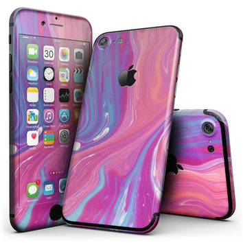 Marbleized Pink and Blue v391 - 4-Piece Skin Kit for the iPhone 7 or 7 Plus