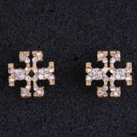 Tory Burch Fashion New Diamond Hollow Titanium Steel Personality Earring Golden