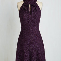 Sleeveless A-line Don't Wait Up Dress in Plum by ModCloth