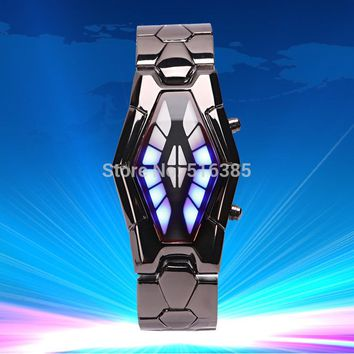 1pcs Creative Snake Head Shape Men LED Watches Full Stainless Steel Mens Watch LED
