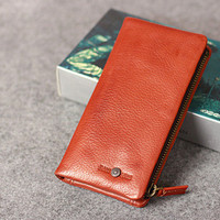 Leather men long wallet clutch brown vintage zip phone clutch men long | EverHandmade
