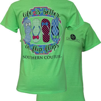 Southern Couture Life is Better in Flip Flops Bow Bows Girlie Bright T Shirt