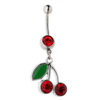 Accessory Red Stainless Steel Navel Rings [9022290372]