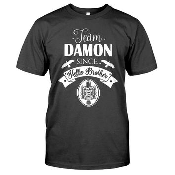 The Vampire Diaries Shirt - Team Damon since hello brother -Men Short Sleeve T Shirt - SSID2016