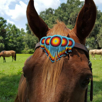 Sunbursts Seed Beaded Equine Browband Ornament with Dangles -  Native American Style Horse Ornament