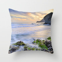 lonely sunset at the sea Throw Pillow by Guido Montañés | Society6