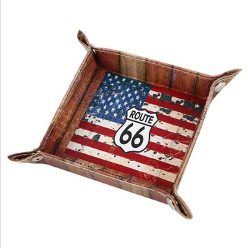 Serving Tray Coaster The Mother Road Route 66 United States of America USA National Flag PU Leather Breakfast Tray Decorative Tray Kitchen