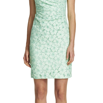 Side Pleated Lace Sheath Dress - Adrianna Papell