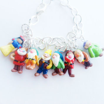 Snow White and the Seven Dwarfs Disney Inspired Polymer Clay Charm Bracelet