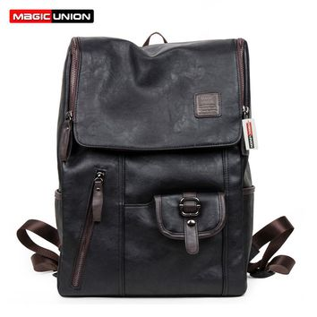 Oil Wax Paper Leather Backpacks style Fashion Bag For Men Travel Mochila Zip Casual Daypacks
