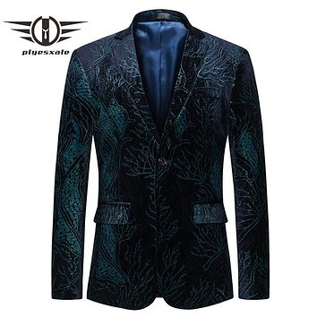 Green Blazer Men Slim Fit Men Floral Blazer Casual Suit Jacket Clothing Male Prom Blazers