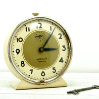 Westclox Cream Gold Metal Enamel Wind Clock