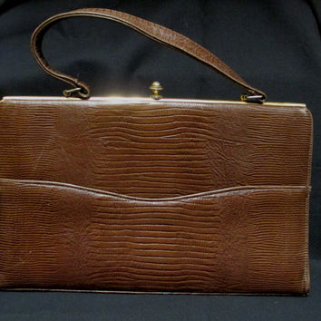 "Vintage 1940s Brown Lizard Handbag Classic Snakeskin Purse 12"" Wide"