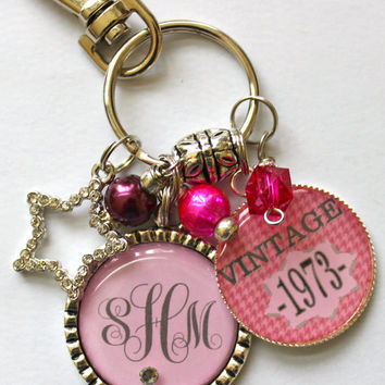 Personalized vintage 40th birthday keychain Monogram mother sister aunt daughter 40th birthday milestone pink houndstooth vintage1973 1963