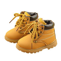 Top selling winter Fashion Child Leather Snow Boots For Girls Boys Warm Martin Boots Shoes Casual Plush Child  Baby Toddler Shoe
