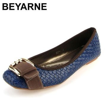 BEYARNE new arrival hasp knitted women single shoes square toe ballet flats soft botto