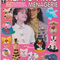 Neato Fimo Menagerie booklet with instructions for making 18 clay animal sculptures from Fimo clay by Kris Richards for Hot Off The Press